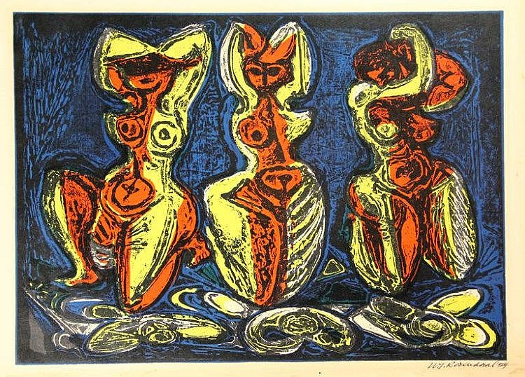 Rozendaal, W.J. (1899-1971). (Three nude female bathers). Colour lino/wood cut, 32x44,5 cm., signed and