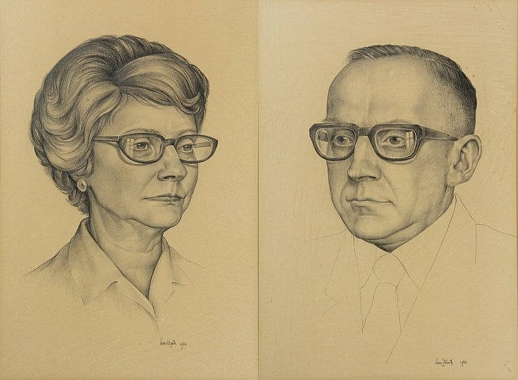 Strik, L.A. (1921-2001). (Portraits of the collector's couple G.J. Rhebergen Jr. and Myra Louis Rhebergen-Philips). Two drawings, pencil, each ±25x15,5 cm., signed