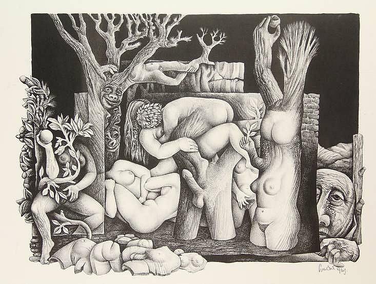 Strik, L.A. (1921-2001). (Tuin der lusten). Lithograph, 32x42,5 cm., signed