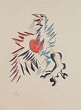 Zadkine, O. (1890-1967). Portrait de l'oiseau-qui-n'existe-pas & autres poemes. Series of 5 (of 18) colour lithographs, ±16x17 to ±23x7 cm., each numb.