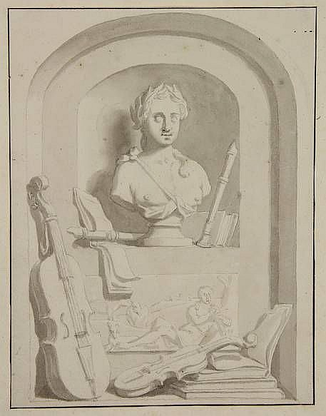 Jelgerma, T.H. (1702-1895) (attrib.). (Allegorical composition with string instruments, flutes and a bust of a Muse). Drawing, pen/ brush and ink, 20,1x13,9 cm., tipped onto paper mount. = Attribution to the grisaille painter Taco Hajo Jelgersma in