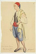 """Huysmans, J.B. (1826-1906). """"Jeune Arabe-Turco"""". Drawing, watercolour and pencil, 21,2x8,6 cm., signed in pen and ink, titled and """"Oran 4 Mai 1862"""" in pencil."""