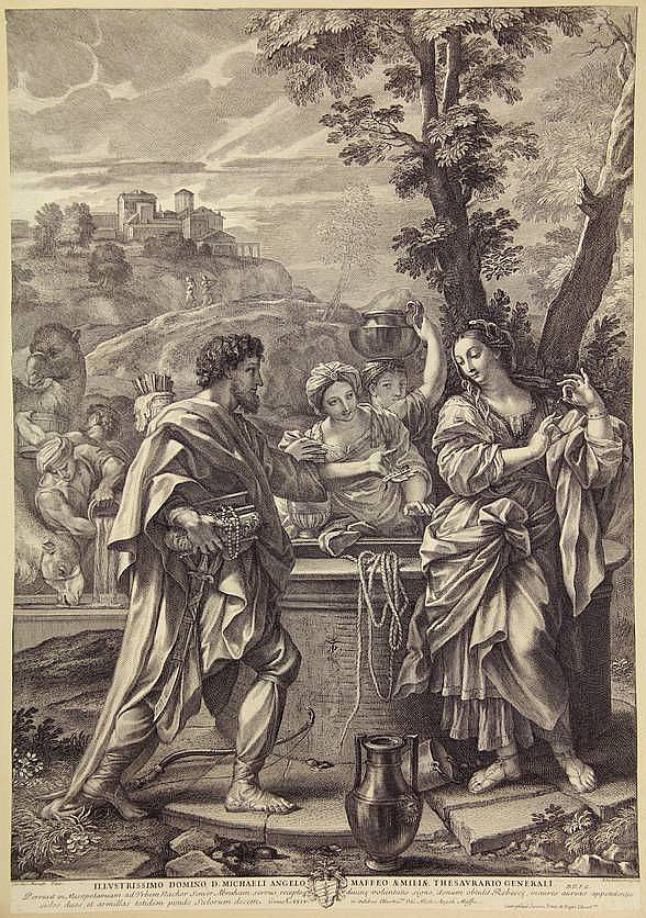 Audenaerde, R. van (1663-1743). (Rebecca at the well). Engraving after C. MARATTI, 47x32,5 cm., w. privilege and caption below the image, tipped onto mount. - Trimmed to the borderline. Idem. (David and Bathsheba). Engraving after C. MARATTI, 46x32,5