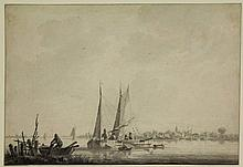 """Schouman, M. (1770-1848). (Dutch riverscape with sailing barges and village in the background). Drawing, pen and (washed) ink, 20,2x29,3 cm., signed (vaguely) """"M. Schouman"""" in red ink. = Provenance collection J.A. Klaver (with his collection mark on"""