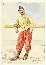 """Huysmans, J.B. (1826-1906). (A Spanish corporal leaning on a railing of the ship Pelayo). Drawing, watercolour and pencil, 20,8x14,5 cm., signed and """"Cabo 2o. (Caporal)"""" and """"Enrade de Carthagène (a bord de Pelayo) 21 Avril 1862"""" in pen and ink."""