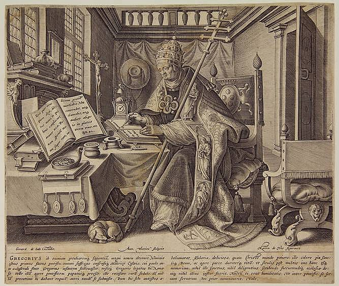 Wierix II, A. (±1555/59-1604). St. Gregory. Engraving from The four fathers of the church after M. DE VOS, 20,8x24,8 cm.,