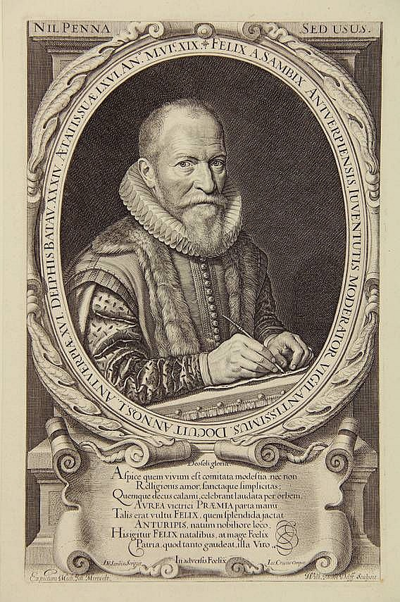 [Portraits]. Delff, W.J. (1580-1638). Felix à Sambix, calligrapher in Delft. Engr. oval portrait after M.J. MIEREVELT, within dec. border, 26,5x16,7 cm., w. 8-line verse in Latin by J. Crucius, calligraphed by F. À SAMBIX. = Hollstein 78, 2nd state