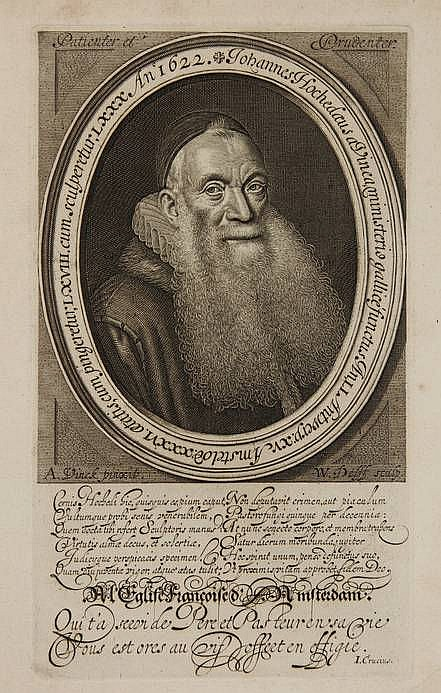 [Portraits]. Delff, W.J. (1580-1638). Johannes Hochedaeus à Vinea (De La Vigne), Walloon theologian in Amsterdam. Engr. oval portrait after A. VINCK, 23,5x13,5 cm., extensive caption below the image. - Fine. = F.M. 2397; Hollstein 32. Visscher, J. de