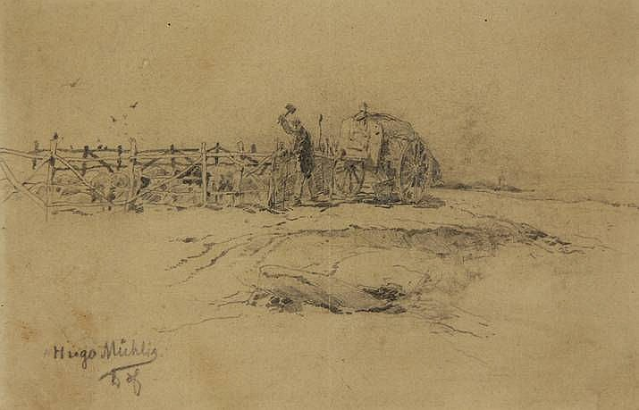 Mühlig, H. (1854-1929). (Farmer mending fence of a sheep pen). Drawing, pencil, 9x13,5 cm., signed