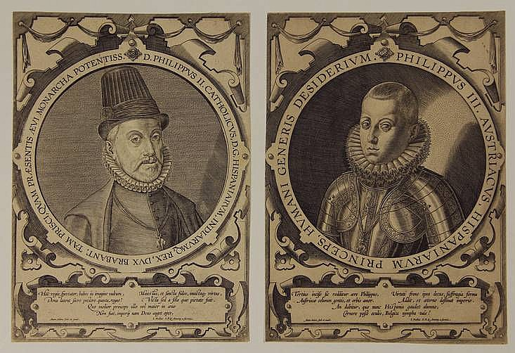 [Portraits]. Wierix II, A. (±1555/59-1604). Philips II, King of Spain. Philip, Infant of Spain, later King Philip III. Two engr. circular portraits within a strapwork cartouche, from Rulers of the Netherlands (four plates), each 21,5x15,7 cm., each
