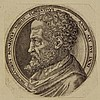 [Portraits]. Suavius, L. (±1510-±1575) (attrib.). Michelangelo Buonarotti. Two copies of the same engraving, buste before a tondo frame, each Ø 9,9cm., caption in tondo. - Both tipped onto mount in left corner; the 2nd state trimmed tot the, Lambert Suavius, Click for value