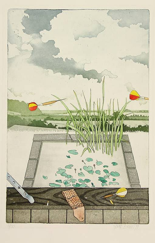 Bakker, S. (b.1943). (A pond, darts and a cigarette stub). Colour etching and aquatint, 59,3x39,3 cm