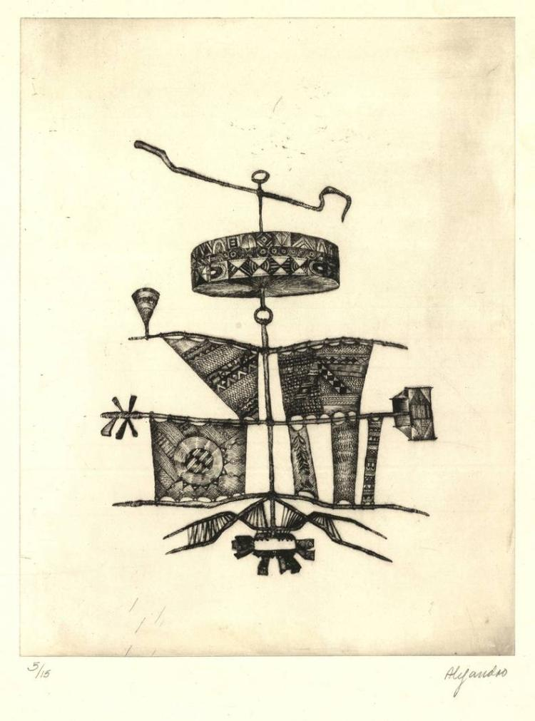 Alejandro, J.R. (b.1943). (Surrealist objects). Four etchings (and aquatint
