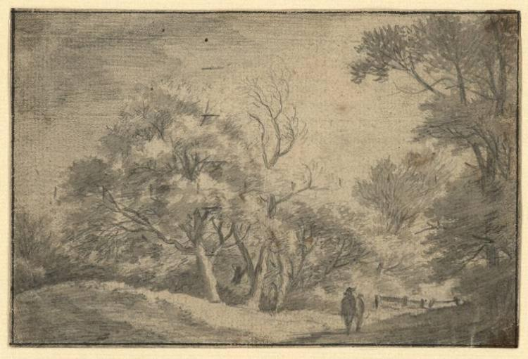 Anonymous 18th cent landscape with a mansion drawing
