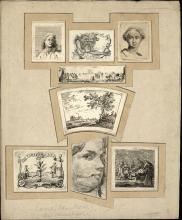 Noorde, C. van (1731-1795). Lot of 8 small etchings, together tipped onto o