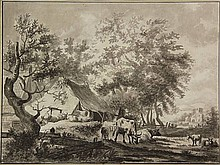 Anonymous (late 18th cent.). (Farm with sheep,
