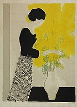 Brasilier, A. (b.1929). (Elegant woman and a vase