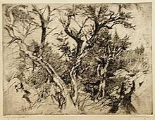 Mensinga, J.R. (1924-1998). (Trees). Etching,