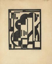 "Maes, K. (1900-1974). (Composition). Linocut, 19,3x15,5 cm., signed ""Karel Maes 1922"" in pencil, mon"