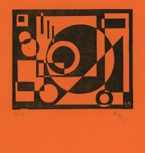 """Maes, K. (1900-1974). (Composition). Linocut, 13,9x16,9 cm., monogrammed and """"no 17"""" in pencil, mono"""