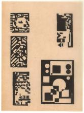 Maes, K. (1900-1974). (Composition). Linocut, 8,2x11 cm., monogrammed in the plate, PROOF on tracing