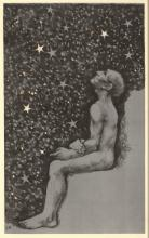 Rädecker, J.A. (1885-1956). (Seated man under a starry sky). Lithograph, printed in black and blue,
