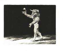 """Stolwijk, D. (1931-2013). (Minotaur holding a rose in his hand). Etching, 24,8x32,4 cm., signed """"Dic"""