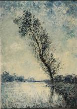 Wingen, J. (1874-1956). (Landscape with a tree by a river). Oil on panel, 68,5x48,5 cm., signed in l