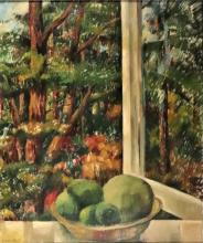 Windhorst, J.C.L. (1884-1970). (Forest view from a window with a fruitbowl on the window-frame). Oil