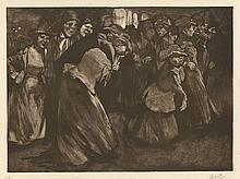 Aarts, J.J. (1871-1934). Straattafereel met mannen en vrouwen. Lithograph on chine collé, printed in
