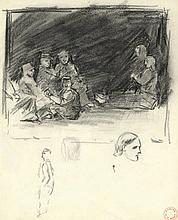 Boot, H.F. (1877-1963). (Studies of peasants). Two drawings, black crayon, both ±25x20 cm., w. the a