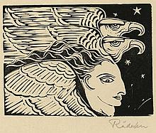 Rädecker, J.A. (1885-1956). (Profile of a winged figure and two eagles). Woodcut, 9x12,2 cm., signed