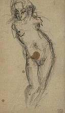 Boot, H.F. (1877-1963). (Female nude seen from behind). Drawing, pencil, 23,5x13 cm., signed in lowe