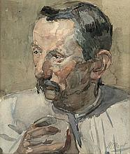 Boot, H.F. (1877-1963). (Portrait of a man). Watercolour, 27,8x23,8 cm., signed. - Sl. foxed; tape a