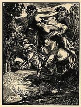 "Aarts, J.J. (1871-1934). Nessus ontvoert Dejanira. Woodcut, 27,1x20,4 cm., ""Centaur Nessus met Deian"
