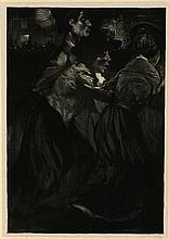 """Aarts, J.J. (1871-1934). Kermispret. Lithograph on chine collé, 1903, 42x29 cm., signed """"Aarts"""" in p"""