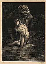 """Aarts, J.J. (1871-1934). Andromeda. Lithograph, 24x26,7 cm., signed """"J. Aarts"""" and """"6/12"""" in pencil."""