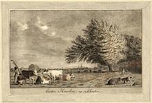 "[Printdrawings]. Noorde, C. van (1731-1795). ""Buiten Haarlem, op Schooten"". Printdrawing, 15,6x26,1"