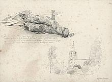 """Dubourcq, P.L. (1815-1873). Lot of 10 pencil drawings, 21x16,5 cm. to 24,2x30 cm., 1x signed """"Dubour"""