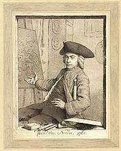 """[Printdrawings]. Noorde, C. van (1731-1795). (Self portrait). Printdrawing, 19x14,4 cm., """"Corn. van"""