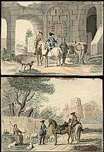 Aartman, N.M. (1713-1793). (Two horsemen addressing a shepherdess, a city in the background). (Two h