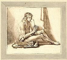 [Printdrawings]. Noorde, C. van (1731-1795). (Study of a nude seated man playing a flute). Printdraw