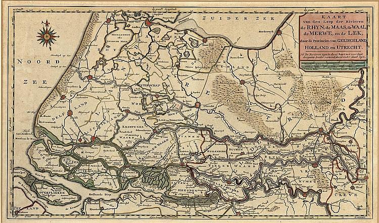 Zuid Holland Kaart Van Den Loop Der Rivieren De Rhyn De