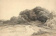 Plas, P. (1810-1853). (Landcape with a barn). Drawing, pencil, brown and grey wash, 30,5x47 cm., sig