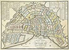 [Amsterdam]. Verdeeling der Stad Amsterdam in 50