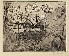Altink, J. (1885-1971). Boerenerf. Drypoint,