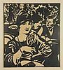 Dom, P.L.C. (1885-1978). (Café scene). Linocut,, Paul Dom, Click for value