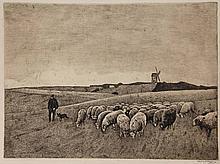 Meijer, S. (1877-1965). Op de heide. Etching,