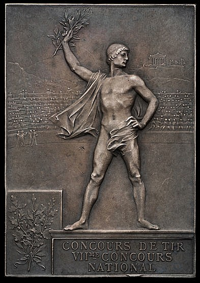 Paris 1900 Olympic Games winner's plaque,  silvered bronze, designed b