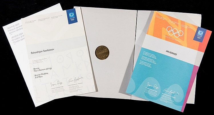 A pair of Athens 2004 Olympic Games diplomas,  i) a bronze medallist w